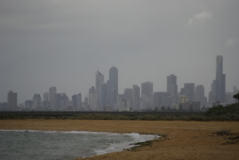 Melbourne's skyline seen from Brighton Beach