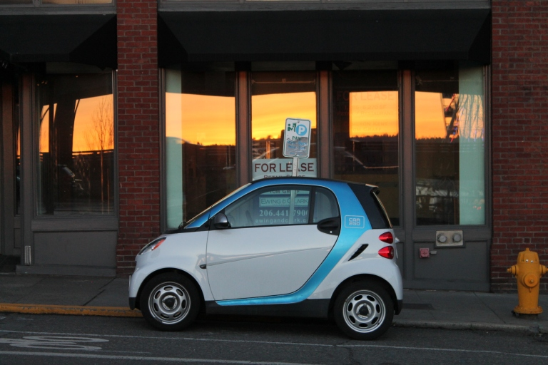 These cars are everywhere in Seattle! This company, called Car2Go, charges 41 cents per hour, which includes gas, parking and insurance, as well as a $35 charging fee, and the